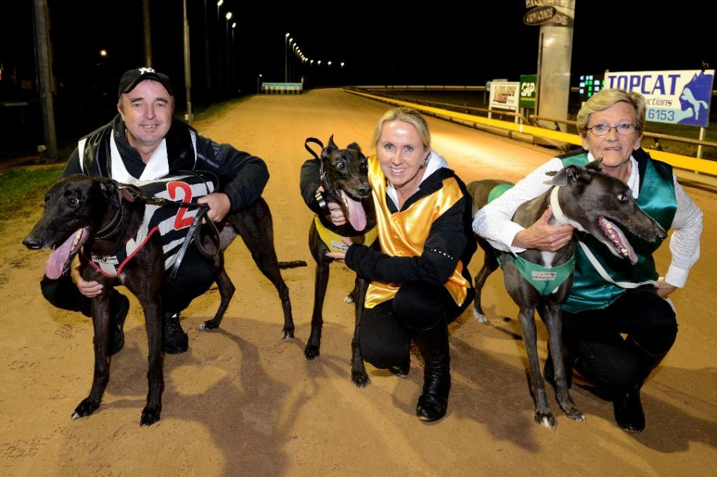 Placegetters from left, Kouta Mayhem with trainer Jason Sharp, Aston Dee Bee with trainer Seona Thompson and Jimmy Newob with handler Jackie Greenough.